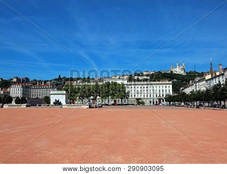 Main Square In Lyon City In France Called Place Bellecour Is The Most Wide Square In Europe And The