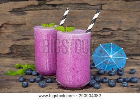 Blueberry Smoothie Purple Colorful Fruit Juice Milkshake Blend Beverage Healthy High Protein The Tas