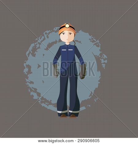 Vector Illustration, Miner, Coloring Drawing, Card Concept, Gray Background.