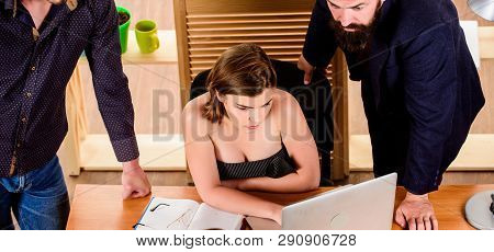 Sexy Girl Big Boobs Working In Mostly Male Workplace. Desirable Sexy Lady Boss. Woman Sexy Attractiv