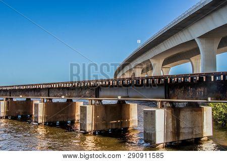 Bridge And Railway Bridge In Stuart, Florida