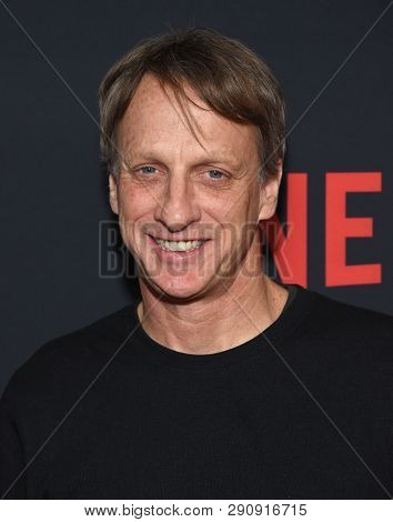 LOS ANGELES - MAR 18:  Tony Hawk arrives for the Netflix 'The Dirt' Premiere on March 18, 2019 in Hollywood, CA