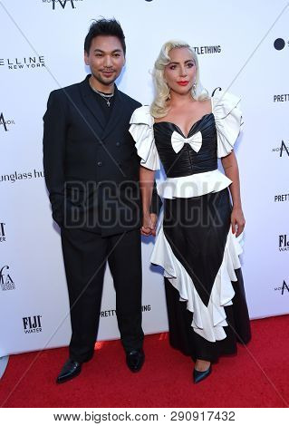 LOS ANGELES - MAR 17:  Frederic Aspiras and Lady Gaga arrives for the The Daily Front Row 5th Annual Fashion LA Awards on March 17, 2019 in Beverly Hills, CA