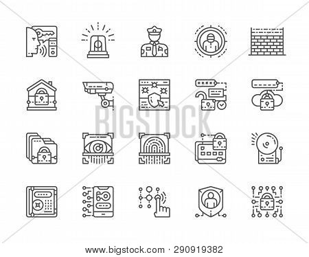 Set Of Security Services Line Icons. Police, Protection, Cryptography And More.