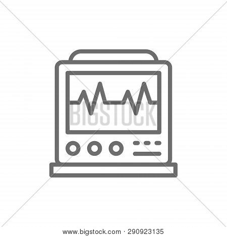 Ekg Machine With Pulse, Icu Monitor, Electrocardiograph Line Icon.