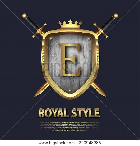 Two Crossed Swords And Shield With Crown And Letter E. Letter Design In Gold Color For Uses As Heral