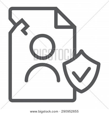 Breach Personall Data Line Icon, Private And Protect, Privacy Breach Sign, Vector Graphics, A Linear