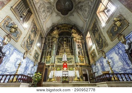Lisbon - July 5, 2018: The Altarpiece In The Main Chapel Of The Church Of The Flamengas At The Conve