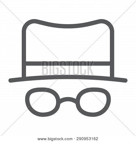 Spy line icon, spyware and person, detective sign, vector graphics, a linear pattern on a white background. poster