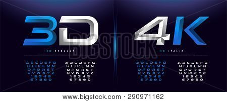 Elegant Silver And Blue 3d Metal Chrome Alphabet And Number Font. Typography Technology, Digital, Mo