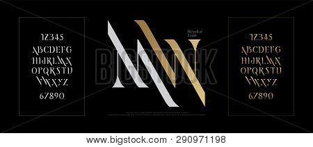 Elegant Alphabet Letters Font Set. Classic Gold Lettering Typography Fonts Regular Uppercase And Num
