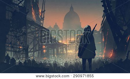 Young Man With Gun Looking At Crowd Of People In Apocalyptic City, Digital Art Style, Illustration P