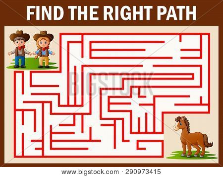 Maze Game Finds The Coboy And Cowgirl Way Get To Horse