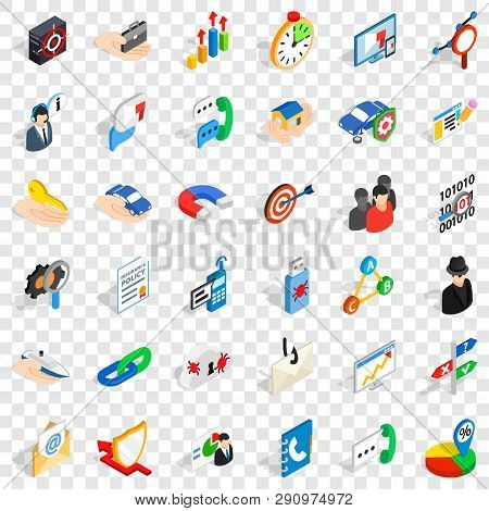 Development Icons Set. Isometric Style Of 36 Development Vector Icons For Web For Any Design