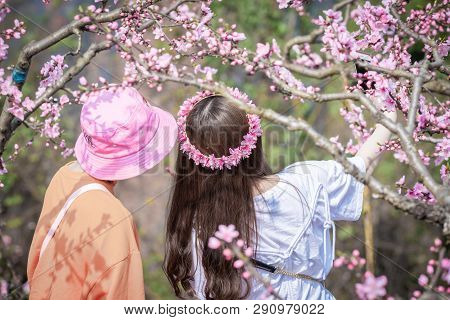 Chengdu, Sichuan Province, China - March 20, 2019: Two Chinese Girls With Flower Crown Taking Selfie
