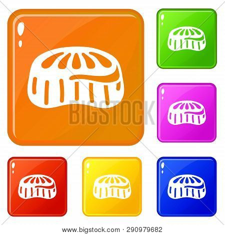 Candy Jelly Icons Set Collection Vector 6 Color Isolated On White Background