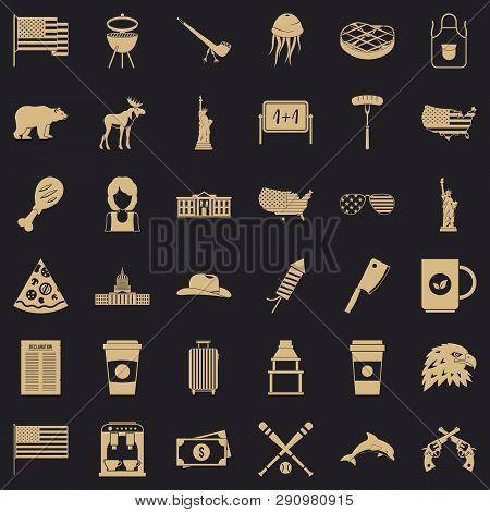 Uncle Sam Icons Set. Simple Style Of 36 Uncle Sam Vector Icons For Web For Any Design