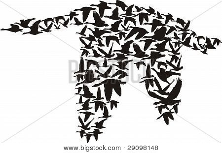 vector - goose made up of small
