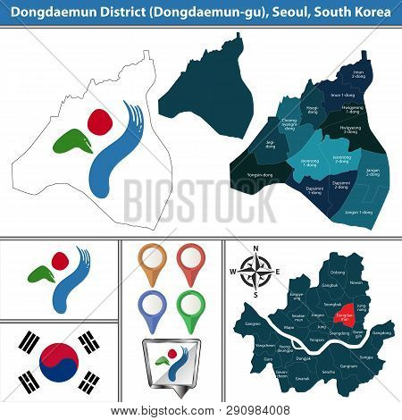 Vector map of Dongdaemun District or Gu of Seoul metropolitan city in South Korea with flags and icons poster