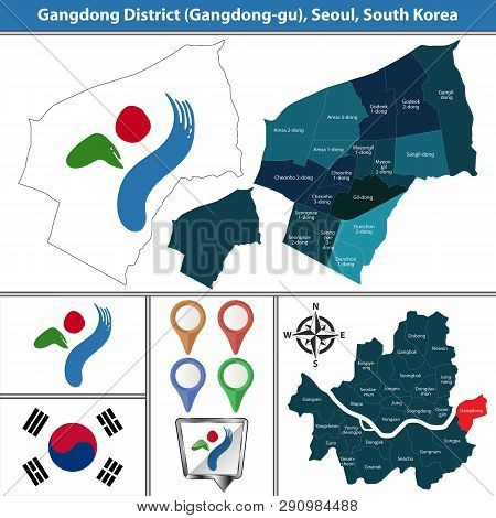 Vector map of Gangdong District or Gu of Seoul metropolitan city in South Korea with flags and icons poster