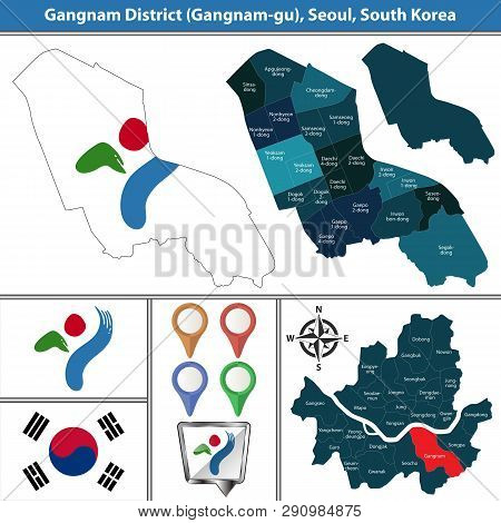Vector map of Gangnam District or Gu of Seoul metropolitan city in South Korea with flags and icons poster