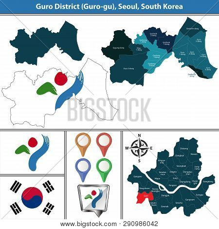 Vector map of Guro District or Gu of Seoul metropolitan city in South Korea with flags and icons poster