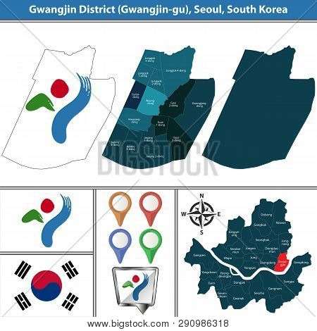 Vector map of Gwangjin District or Gu of Seoul metropolitan city in South Korea with flags and icons poster