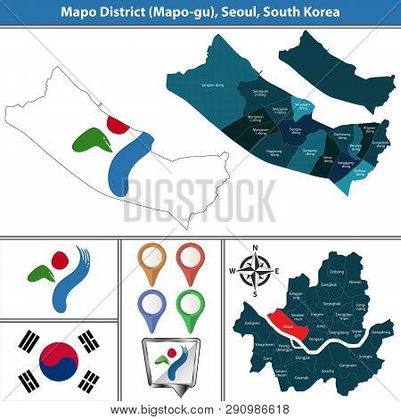 Vector Map Of Mapo District Or Gu Of Seoul Metropolitan City In South Korea With Flags And Icons