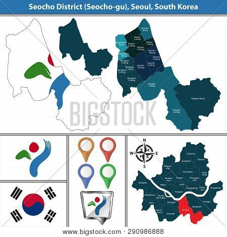 Vector Map Of Seocho District Or Gu Of Seoul Metropolitan City In South Korea With Flags And Icons