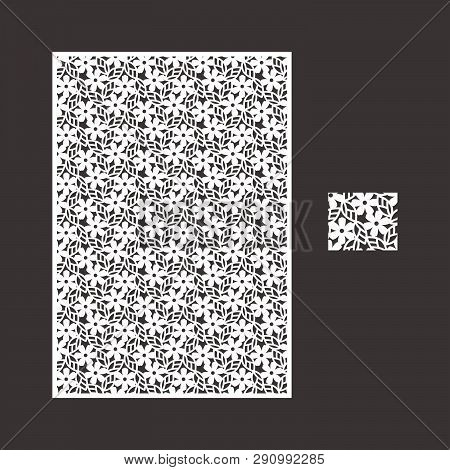 Cutout silhouette with botanical pattern. Vector template for laser cut panel card set. A picture suitable for printing, engraving, laser cutting paper, wood, metal, stencil manufacturing.