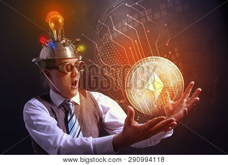 Distraught Looking Conspiracy Believer In Suit With Aluminum Foil Head With Farad Cryotocurrency Coi