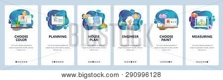 Mobile App Onboarding Screens. House Plan, Wall Color Painting, Engineer, Measures, Building Constru