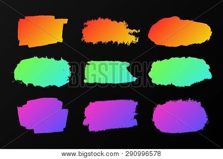 Collection Of Colorful Paint Stains On A Black, Neon Marker. Vector Set Of Elements Graffiti Style,