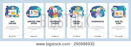 Mobile App Onboarding Screens. Online Shopping, Customer Choise, Special Sale Offer, Shopaholic Woma