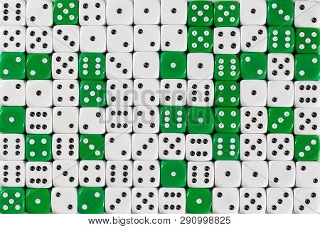 Pattern Background With Two-third Random Ordered White Dices And One-third Green Dices