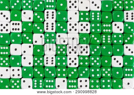 Pattern Background With Two-third Random Ordered Green Dices And One-third White Dices