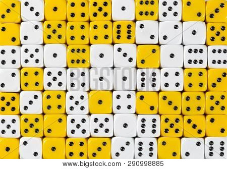 Pattern Background Of 70 Random Ordered White And Yellow Dices