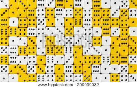 Pattern Background Of 140 Random Ordered White And Yellow Dices
