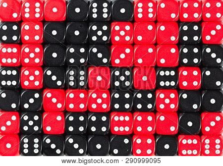 Pattern Background Of 70 Random Ordered Black And Red Dices