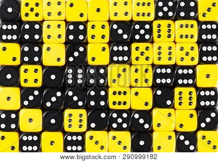 Yellowpattern Background Of 70 Random Ordered Black And Yellow Dices
