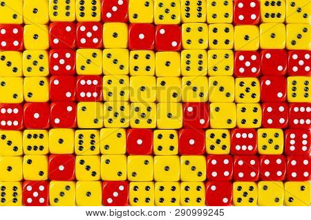 Pattern Background With Two-third Random Ordered Yellow Dices And One-third Red Dices