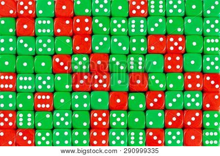Pattern Background With Two-third Random Ordered Green Dices And One-third Red Dices