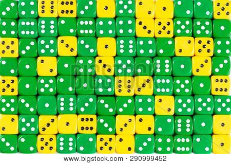 Pattern Background With Two-third Random Ordered Green Dices And One-third Yellow Dices