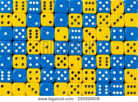 Pattern Background Of 70 Random Ordered Blue And Yellow Dices