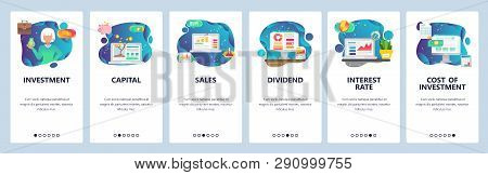 Mobile App Onboarding Screens. Finance Business Icons, Money Investment, Sales And Capital, Interest