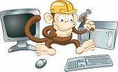 "An illustration of a monkey in a hard hat trying to fix a computer with a hammer. Perhaps a ""website under construction"" image. poster"