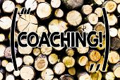 Text sign showing Coaching. Conceptual photo Prepare Enlightened Cultivate Sharpening Encourage Strenghten Wooden background vintage wood wild message ideas intentions thoughts. poster
