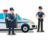 Police Officers Ready to Work Cartoon Characters. Bodyguards and Police Car Flat Vector Illustration. Security Service Staff. Policemen on Mission Clipart. Inspectors, First Respondents poster