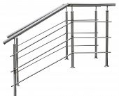 Chromium metal fence with handrail on white background poster