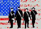American soldiers in uniform of civil war times on white background poster